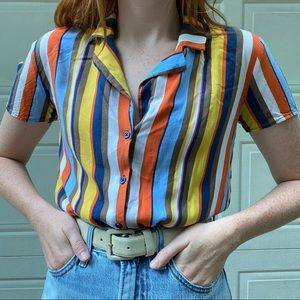 🌞FUNKY STRIPED SHORT SLEEVE BUTTON UP SHIRT🍊